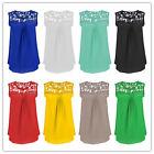 Womens Chiffon Sleeveless Shirt Casual Lace Vest Blouse Loose Ladies Tops 6-20