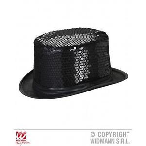 Adult Black Sequin Top Hat Show Girl Victorian Dancer Fancy Dress ... 487ee8ed6d3