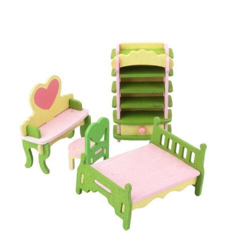 7485 Puppenhaus Zubehör Möbel Miniaturen Holz Kinder Jugend Zimmer 4-tlg