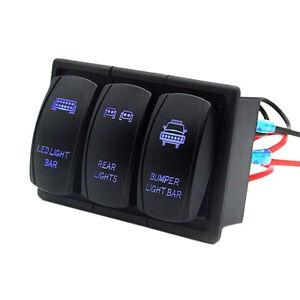 3-Gang-Blau-LED-Schaltpanel-Schalter-Schalttafel-Voltmeter-12V-24V-Auto-Boot-RV