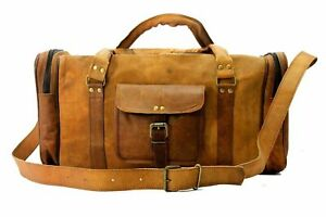 Genuine-Leather-Luggage-Duffle-Gym-Bag-Men-Women-Tote-Overnight-Weekend-Holdall