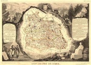 Levasseur 1852 Matching In Colour Decorative Antique Map/carte Spirited Département Du Puy-de-dÔme