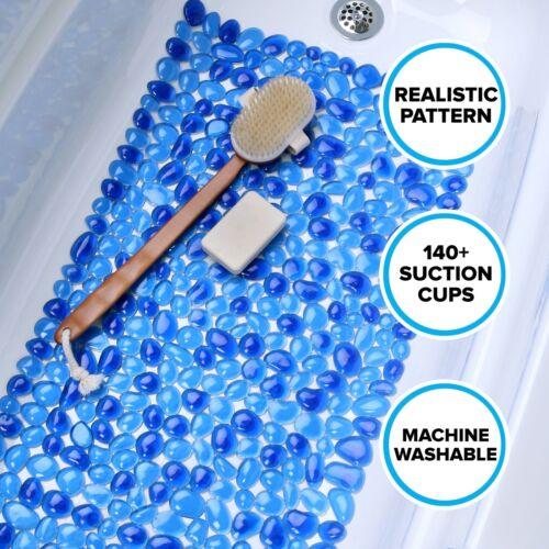 Slip-Resistant Bathtub Mat SlipX Solutions Blue Pebble Suction Cup Bath Mat