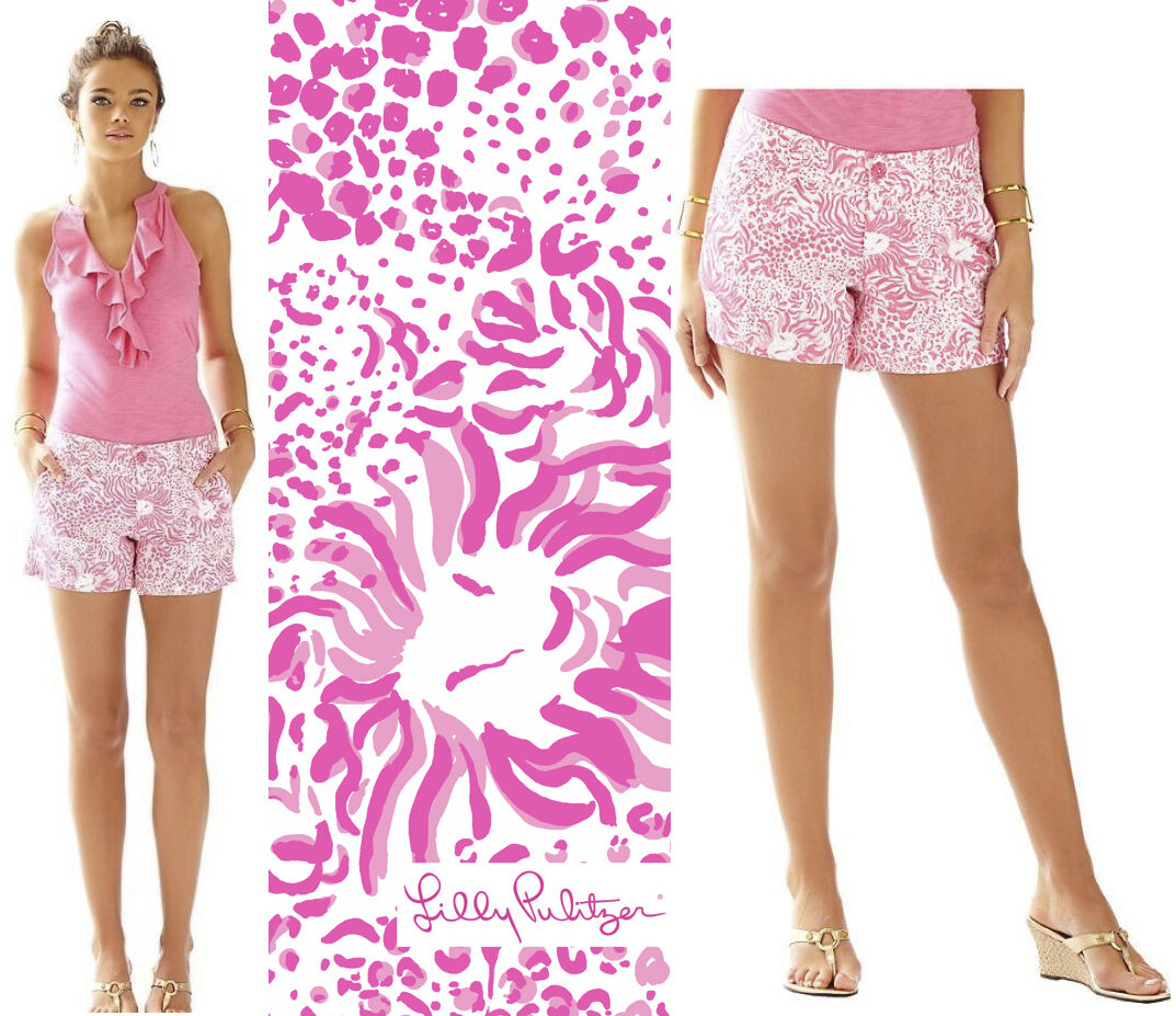 64 Lilly Pulitzer Callahan Resort White Get Spotted Small Print Twill Shorts 2