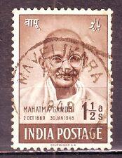 Indian-Mahatma Gandhi 15 Aug 1948 1-1/2 Anna (s) Good Used Stamp #IU48A