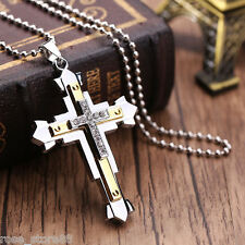 New Unisex Men Stainless Steel Cross Pendant Necklace Chain Fashion Jewelry Gift