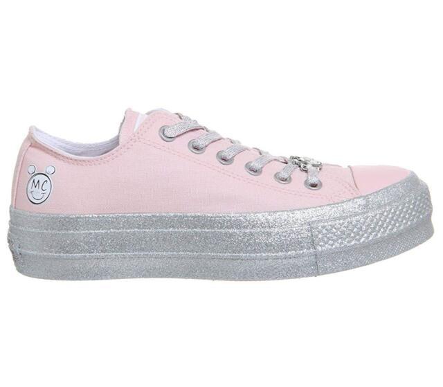 Converse Miley Cyrus CTAS Platform Low Sneaker Size  US 8 Pink-Silver  Glitter 9cdbf555c