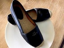 NEW COACH 'RHODELLE ESPADRILLE' Black Lamb Skin Leather Flat Shoes USA Sz 81/2M