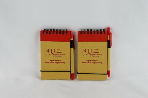 2 NJIT Small Spiral Notepads with Ruled Papers, Ballpoint Pens, & Elastic Bands