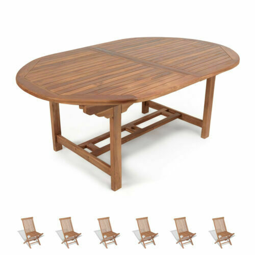 Produzione Tavoli Da Giardino.Set Di Tavoli E Sedie Da Esterno In Teak Acquisti Online Su Ebay
