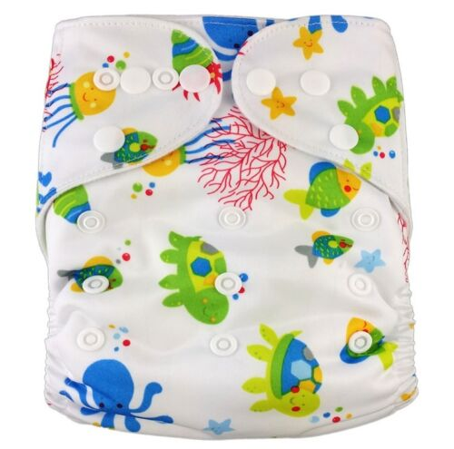 MODERN CLOTH NAPPIES REUSABLE ADJUSTABLE DIAPERS REEF SHELL