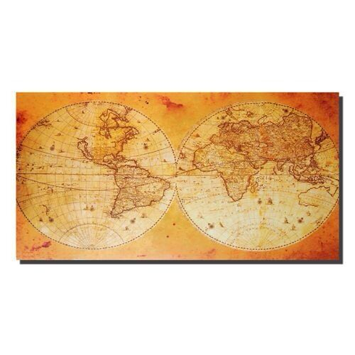 12 x Canvas Wall Art Contemporary  World  Map , Old Map Style , 70cm x 40cm