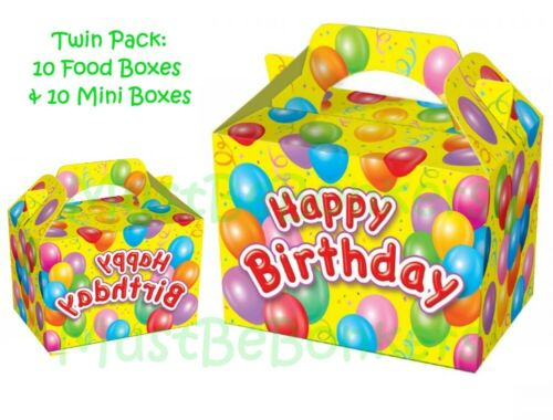 10 Yellow Happy Birthday Party Food Boxes AND 10 Matching Mini Cake Treat Favour