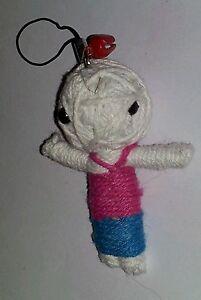 Phoenixx Rising Samurai Warrior Flax Rope Voodoo Doll Key Ring Chain Bag Charm