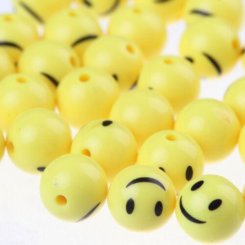 50pcs nouveau jaune Emoji Sourire émoticônes Acrylique Perles Rondes À faire soi-même Bracelet 12 mm