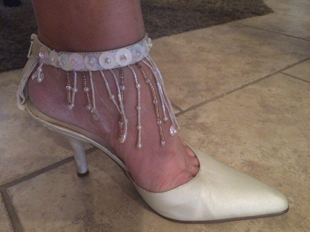 Ann Marino Cream Satin Beaded Ankle Strap High Heels Bridal Sandals Pumps Sz 7
