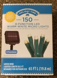 Details About Holiday Time 150 8 Function Solar Power Led Micro Lights Warm White