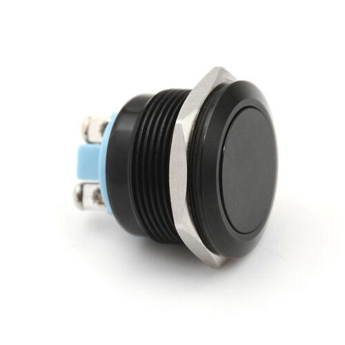 1PC 22mm waterproof black momentary metal flat top push button switch FL