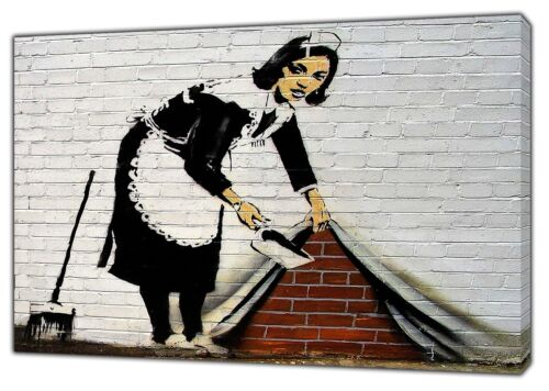 Banksy WOMEN SERVANT Paint Wall Art Print On FRamed Canvas Home  Decoration