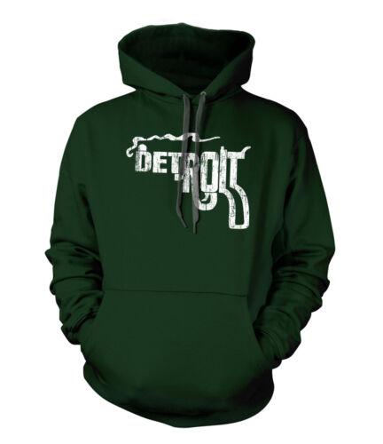 Detroit Gun Smoking Pistol Premium Hoodie FOREST