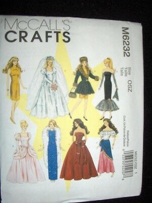 "11"" Doll Barbie New McCalls 6232 Pattern Wedding Dress Formals"