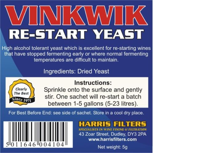 Vinkwik - Premium Restart Yeast (re-start) for wine, cider and spirit wash