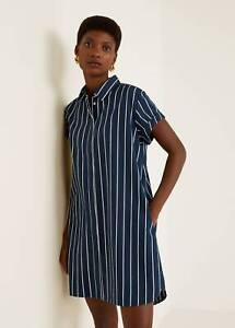 Details About New Mango Zara Group Dark Blue Striped Shirt Dress Size Eur M Usa 6