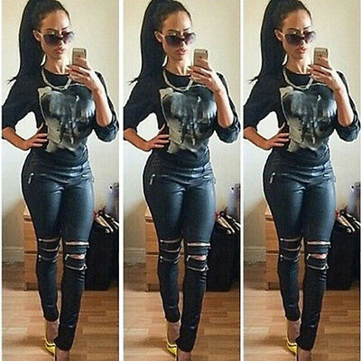 Fashion Lady Jeans Skinny Stretchy Zipper Sexy Ripped Soft Tights Long Pants