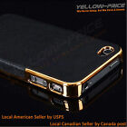 Frame Luxury Leather Chrome Hard Back Case Cover Film For iPhone 5 5S Black Gold