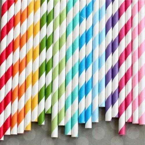 50 Retro Stripe Dot Love Heart Vintage Paper Drinking Straws *BUY 3 GET 1 FREE*