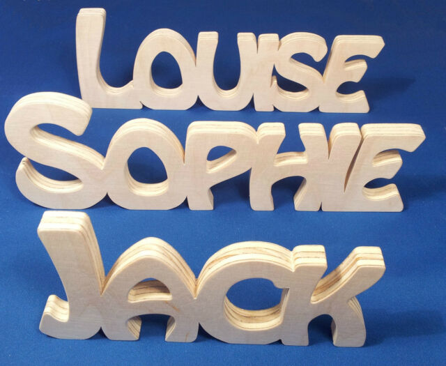 Wooden Name Plaque Free Standing Personalised Name Wedding Home Gift Decoration
