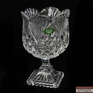 "Glass Pottery & Glass Shannon 24% Lead Crystal Ireland 7"" Compote Slovakia Square Base Scalloped Top"