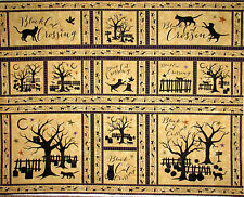 Halloween Fabric - Black Cat Crossing Tree Owl Spooky Maywood MAS9010 - Panel