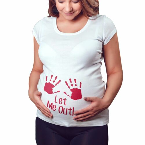 Let Me Out Funny Maternity T Shirt Pregnant Ladies Top Tshirt Baby Mum To Be M1