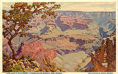 Fred Harvey Postcard Gunnar Widforss Painting View From El Tovar Grand Canyon AZ