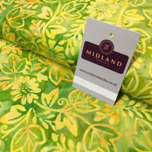 Ivy Leaves Floral Bali Batik 100/% Cotton Patchwork Fabric Mtex