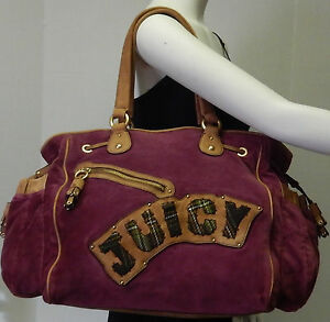 new york lace up in performance sportswear Details about Juicy Couture Burgundy Velour & Cow Hide Leather Trim  Shoulder Bag Handbag Purse