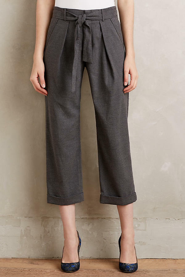 NWT Anthropologie Belted Barton Trousers by Cartonnier, 0, 2, 8, Bow Front grau