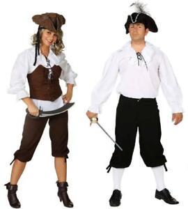 Piratenhemd Pirat Kostüm Hemd Piratin Mittelalter Kniebundhose Bluse Piraten Hut