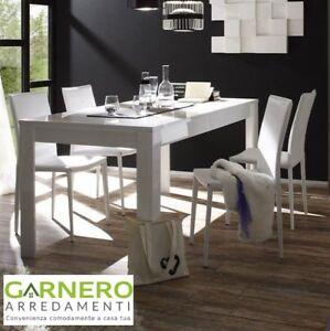 Tavolo moderno sorrento 160 180cm bianco laccato lucido for Tavolo sala da pranzo moderno