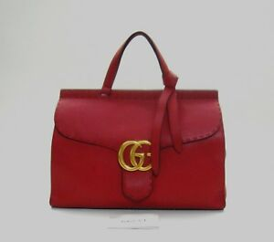 Gucci-Hibiscus-Red-Pebbled-Leather-GG-Marmont-Top-Handle-Bag