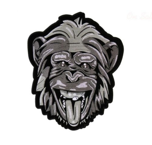 "Biker Monkey Large CHIMPANZEE HEAD 8-1//4/"" x 10/"" iron on back patch L20 6188"