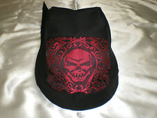 Harley Toms Red Gothic Skull Doo Rag Chef Hat Biker Do Rag Bandana  Skullcap