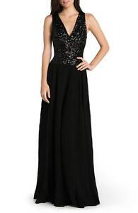 Dress-The-Population-Caroline-Sequin-amp-Chiffon-Gown-Dress-M-4-6-Black