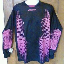 EUC Uhlsport Goal Keeper Goalie Jersey Black & Pink Large Long Sleeve Free Ship!