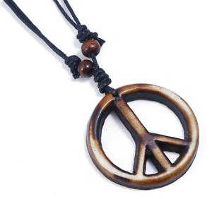 Cuero Collier Cruz signo de la Paz Amor Collar y Colgante Vintage