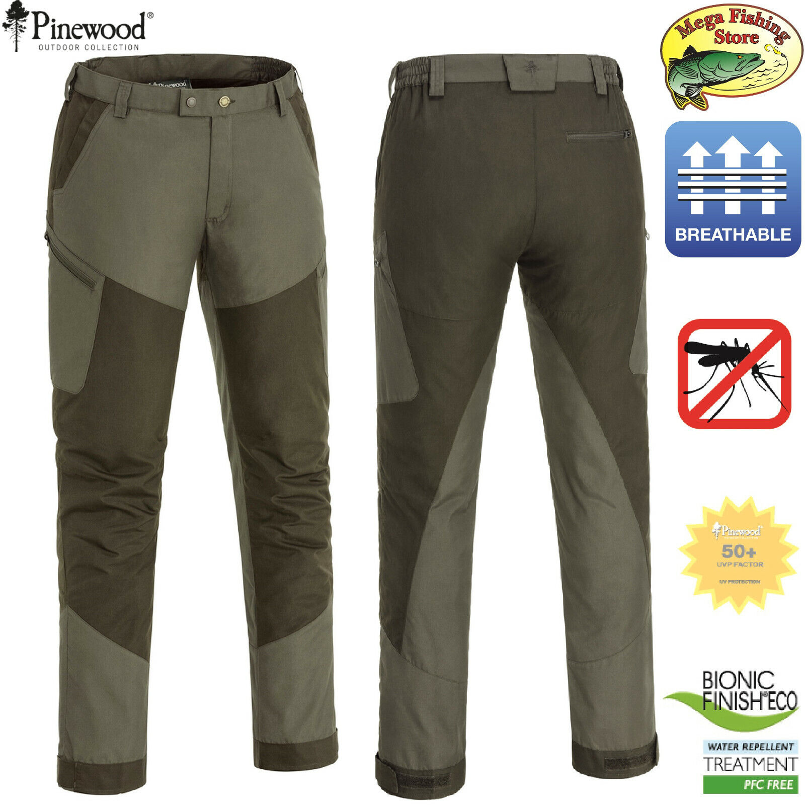 Pinewood 5097 Tiveden TC Stretch Outdoor & Freizeit Hose - Angelhose Outdoorhose