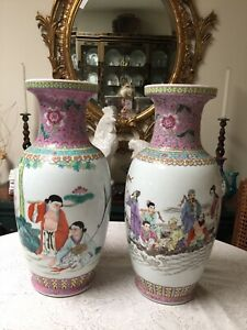 Wonderful Pair Of Early 20thC Chinese Famille Rose Vases