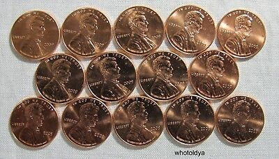 2009-D Lincoln LP1 Pennies Lot of 14 FROM RED UNCIRCULATED ROLLS  whotoldya