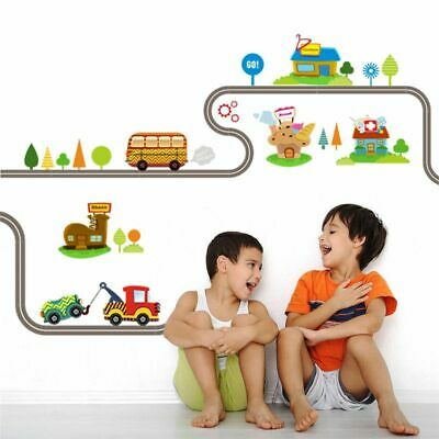 Cartoon Cars Highway Track Wall Stickers For Kids Rooms Muursticker Kids Childre